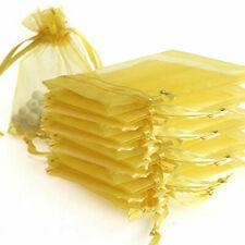 10 MEDIUM 9CM X 12CM LUXURY GOLD ORGANZA GIFT BAGS WEDDING FAVOUR SWEET BAGS UK