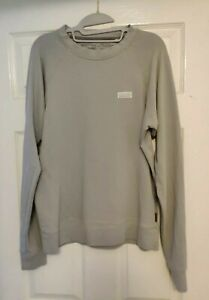Patagonia Women's P-6 Label Ahnya Sweatshirt M 10 12 Pale Grey Organic Cotton