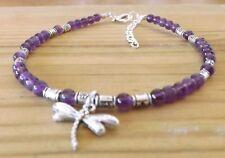 Amethyst 4mm Gemstone Beaded Dragonfly Charm Ankle Bracelet Healing February Gem