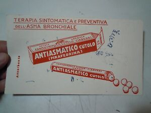 "RARA CARTA ASSORBENTE "" ANTIASMATICO CUTOLO "" FARMACIA CUTOLO CIABURRI NAPOLI"