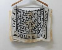 CHRISTIAN DIOR Ladies Cream Black Sheer Printed Rectangular Scarf Shawl