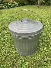 VIntagege Galvanized Steel Trash Garbage Can 16x16