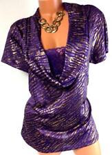 U* L8ter purple tiger animal print metallic foil lace 2fer look cowl neck top 2X