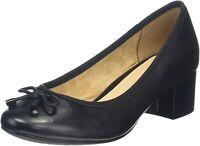Hush Puppies Ladies Nikita Slip On Heel Shoes Black HW05808-001 RRP £60 (SR)