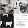 WALKIES PUG Puppy Dog Cute Reversible Duvet Cover Quilt Cover Set Bedding Set