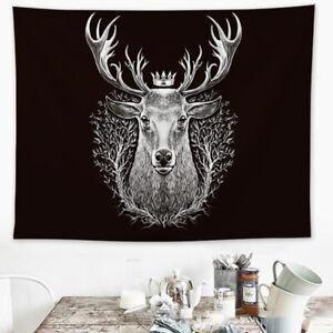 Tapestry Ainimal King Deer Floral Printed Wall Hanging Throw Bedroom House Art