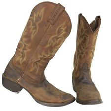 Justin Mens Leather Stampede Cowboy Boots Size 9 Huck Brown 13-inch Tall #2551
