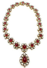 CHRISTMAS NEW YEAR PARTY WEAR REAL POLKI DIAMOND 7.50ct RUBY SILVER 925 NECKLACE