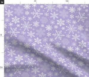 Snowflakes Winter Christmas Lavender Purple Spoonflower Fabric by the Yard
