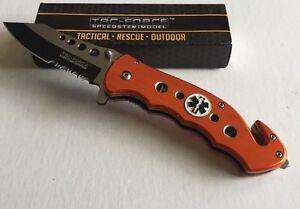 TAC-FORCE TF-498OE Orange Ambulance Medallion Tactical Rescue Pocket Knife