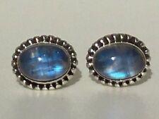 Elegant Genuine 925 Sterling Silver Moonstone Oval Earrings Studs Gemstone