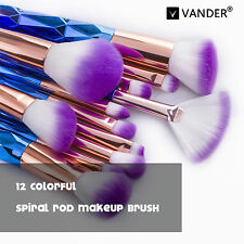 Prifi 12 tlg Bunte Diamant Make-up Pinsel Eyesharow Eyeliner Brush Schminkpinsel