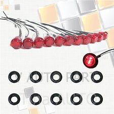 """10X Mini 12V Red 3/4"""" Round Side 3 LED Marker Trailer Bus Car Truck Bullet Light"""