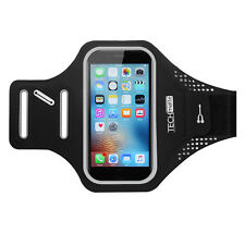 "TechMatte 5.5"" Sport Armband w/ Reflective Tape + Key/Credit Card Holder (Black)"