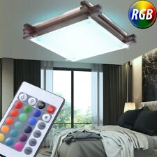 RGB LED Ceiling Lamp Country House Style Hall Wood Glass Dimmer Remote Control