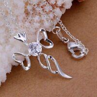 ASAMO Damen Halskette Kreuz Anhänger Kreuzkette Sterling Silber plattiert H1227