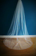 Wedding Veil *Chapel Length*1 Tier*Light Ivory*Floral&Pearl*Bespoke *