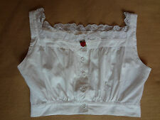 Early 90s Vintage Betsey Johnson White Cropped Top With Lace Trim & Rose Size P