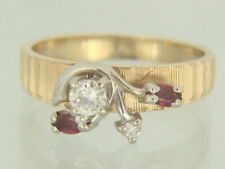 Vintage 14K Yellow Gold Natural Diamond and Ruby Engagement Ring Size 7.5