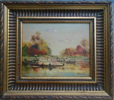 TABLEAU PAYSAGE / BARQUES / RIVIERE / CHATEAU