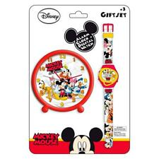 Disney Mickey Mouse Digital Wrist Watch And Alarm Clock Gift Set Childrens Kids