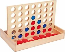 4 in a Row made of Wood. Connect four wooden pieces to win the game - Travel