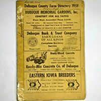 1959 Dubuque County, Iowa Farm Directory Townships Plat Booklet Names 1H