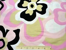 New cotton sewing fabric pink white black floral picot pique 2 yds x 58""