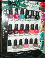 LA Colors nail polish red blue green purple Pink Glitter 18 piece Girl Xmas Gift