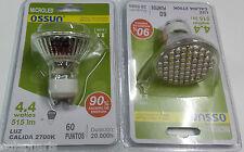 BOMBILLA GU10 60 LED SMD 4,4W LUZ Calida 2700k,60º, Dicroica 50mm, 230V