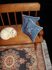 "Lot of 2 -  1 1/4 "" Throw Pillows Dollhouse Denim Blue w/ Pink Roses"