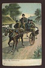 IRELAND CASTLETOWN BERE 1909 PPC HORSE + TRAP ARTIST JOHN CAREY