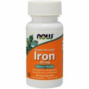 Iron 36 mg Double Strength 90 Vcaps by Now Foods