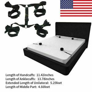 Under Bed Bondage Set Ankle Cuffs Restraint Rope Kit Handcuffs System BDSM Toy