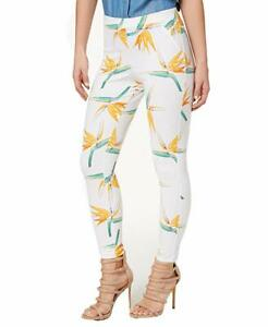 Hue Womens Tropical Floral Simply Stretch Skimmer Leggings White