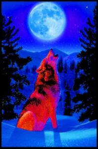 Wolf Moon Non-Flocked Blacklight Poster 24x36 inches