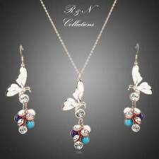 18K Gold Plated Made With SWAROVSKI Crystal Butterfly Earrings & Necklace Set