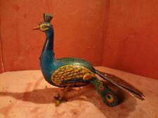 Tin Painted Wind Up Peacock