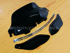 """Slotted Stock Batwing Trim + 8"""" Black Windshield+Side Air Wing Harley Davidson"""