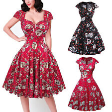 Vintage 50s Hell Bunny Swing Skull Gothic Dress Women PLUS SIZE Rockabilly Party
