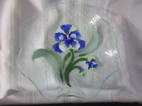SYDENSTRICKER Bowl Signed SYD Fused Art Glass Blue Pansy Ruffled Bowl