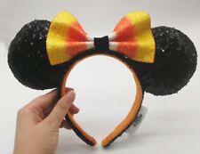Disney Parks Halloween Candy Corn Minnie Ears With Bow Headband