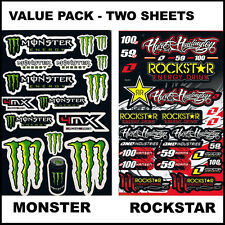 Value Pack! 2 X Rockstar Decal Stickers Sheet For Car Motorcycles Bicycle Helmet