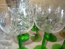 9 Art Deco Weingläser Goblets Schleuderstern Stängelglas grün antik Kristall