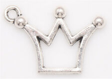 20/200Pcs Tibetan silver Craft Jewelry Making Princess Crown DIY Charms Pendants