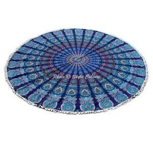 Bohemian Indian Mandala Round Cotton Tapestry Beach Throw Round Towel Yoga Mat