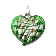 PENDANT/NECKLACE Glass W/ Bail Silver Foil & Goldstone Accents GREEN HEART P475