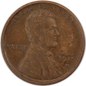 1915-S United States Lincoln Wheat One Cent - VF Very Fine Condition