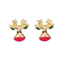Cute Gold & Red Deer Stud Earrings Xmas Christmas Gift E678