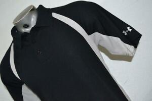 18225-a Under Armour Golf Polo Shirt Blue Striped Size Large Black Mens
